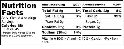 Sweet Potato Burger - Nutrition Label.jp