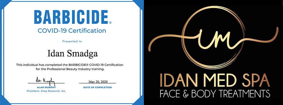 Idan Med Spa Barbicide Covid-19 Certificate.