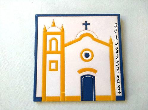 Quadro Igreja NS da Imaculada Conceição da Lagoa, Florianópolis, 20x20cm