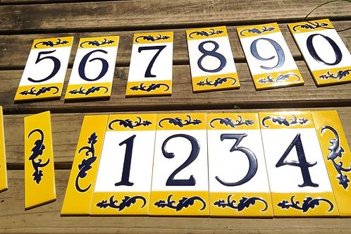 Números Residenciais. Azulejo 15,4x7,7cm Cada. Pintado A Mão