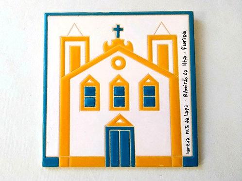 Quadro Igreja NS da Lapa, Ribeirão da Ilha, Florianópolis, 15x15cm