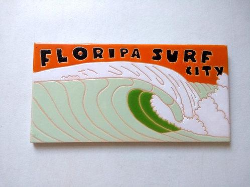 Quadro Floripa Surf City, Azulejo 10x20cm