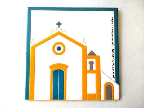 Quadro Igreja NS das Necessidades, Sto Ant de Lisboa, Florianópolis, 15x15cm