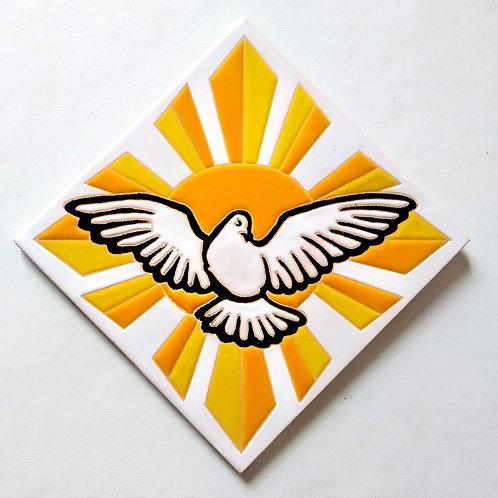 Quadro Divino Espírito Santo, Azulejo 15x15cm Pintado