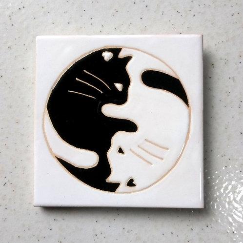 Quadrinho Yin Yang Gatos, Azulejo 10x10cm