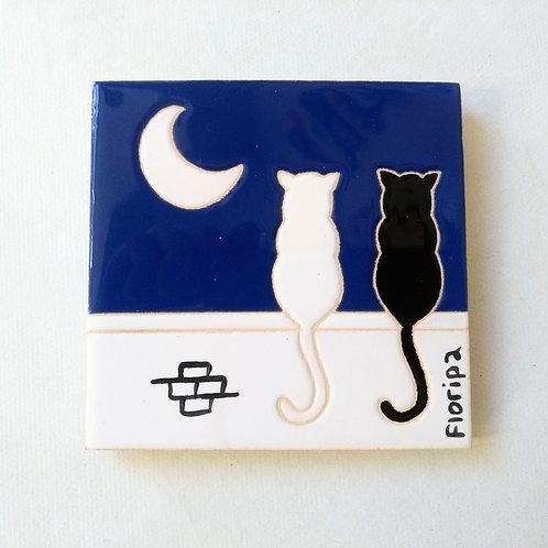 Quadrinho Gatos no muro, céu noturno, Floripa. Azulejo 10x10cm