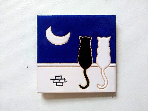 Quadrinho Gatos no muro, céu noturno, Azulejo 10x10cm