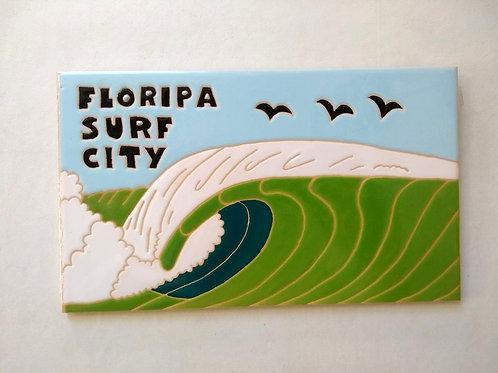Quadro Floripa Surf City, Azulejo 15x25cm