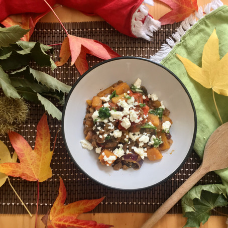 One pan lentils & autumn veggies with feta and herby drizzle