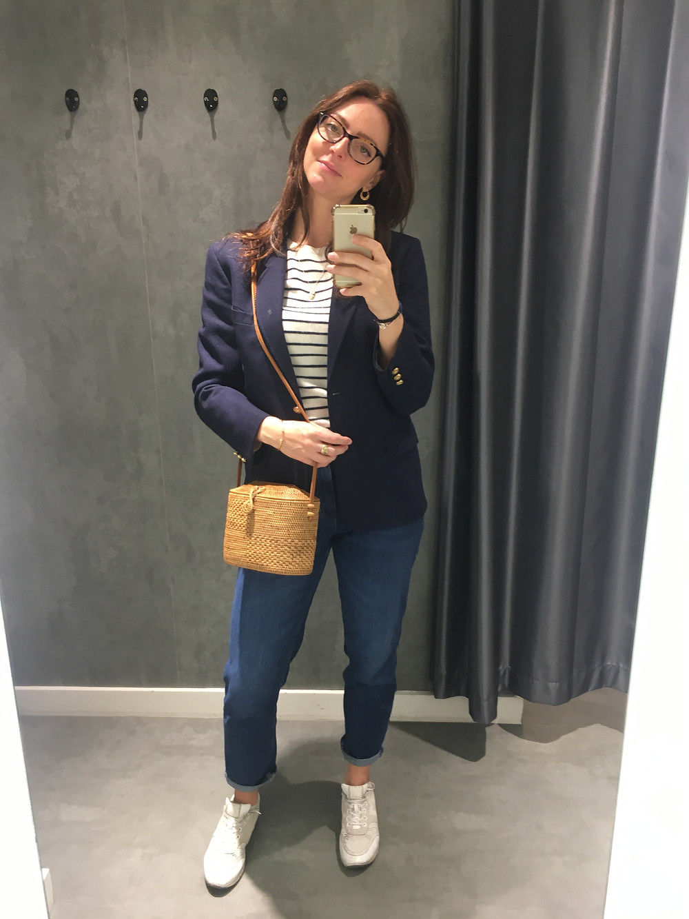 Pure collcetion striped cashmere sweater (old) - Mango Mom jeans (sale) - Unbranded basket bag