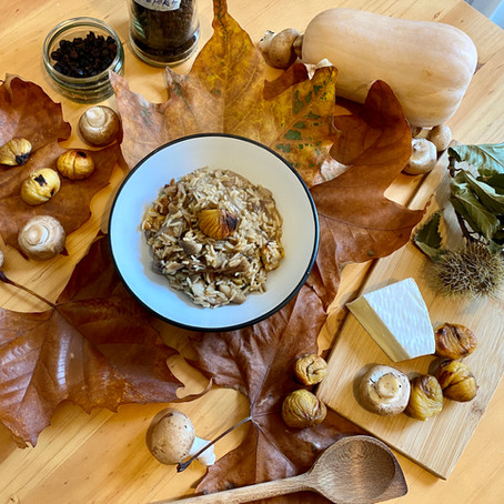 Roasted chestnuts and mushrooms risotto