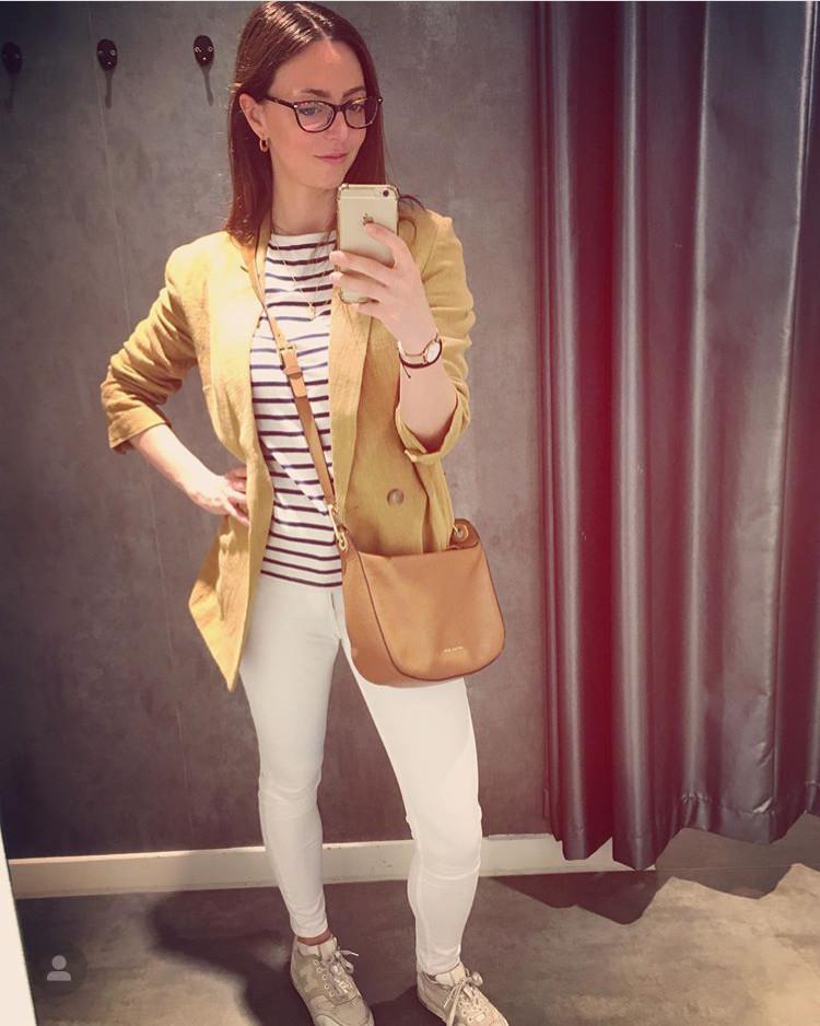Mango blazer, Micheal kors bag, H&M white jeans, Skagen watch