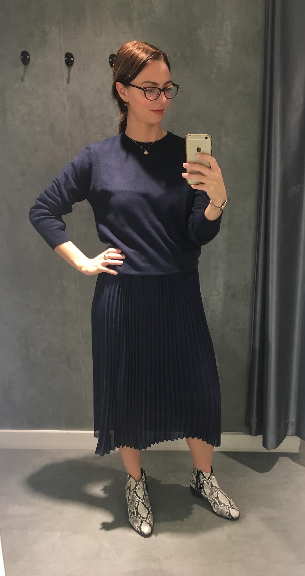 Asos men navy jumper - Kling navy dress with pleated skirt