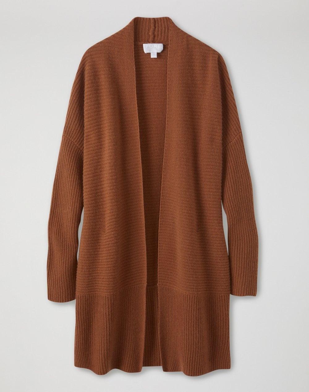 Pure Collection Lofty cognac cashmere cardigan