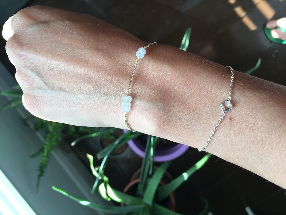 Moon stone gold pleated bracelets from Oliver Bonas