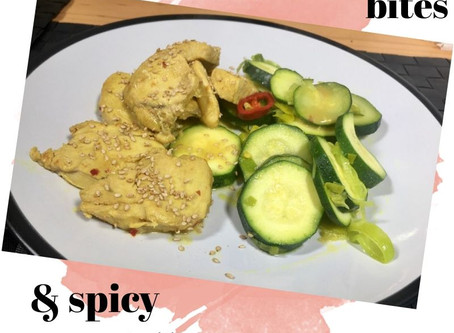 Skinny chicken bites and spicy courgettes