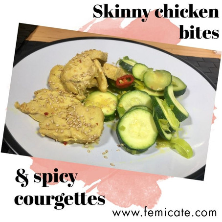 Chicken and courgettes in the pan with a spicy Asian marinade