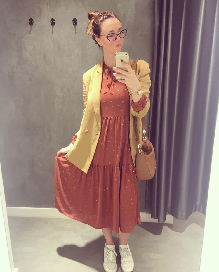 Mango blazer, Oliver Bonas buffet dress, Micheal Kors bag,