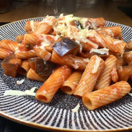 Hearty tomato and aubergine tortiglioni pasta
