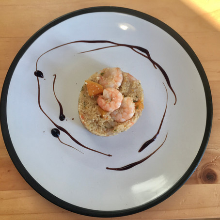 King prawns and butternut squash couscous