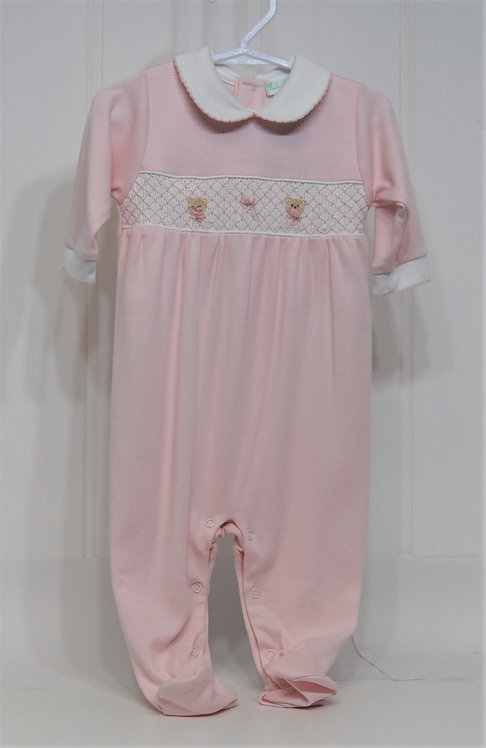 Baby Girl Pink smocked footie with teddy embroidery.
