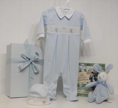 Blue smocked  Teddy with bunny