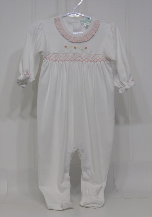 Baby Girl white with pink frill hand smocked footie
