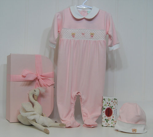 Pink Smocked bear footie with swan