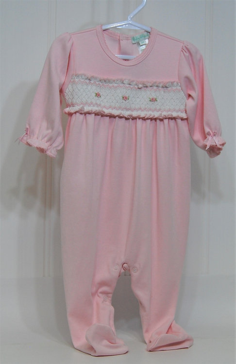 Baby Girl Pink hand smocked footie