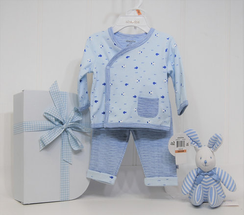 absorba 2 piece with striped bunny