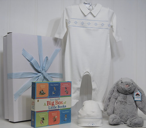 Baby Boy Grey Bashful Bunny and Smocked Suit - 3M