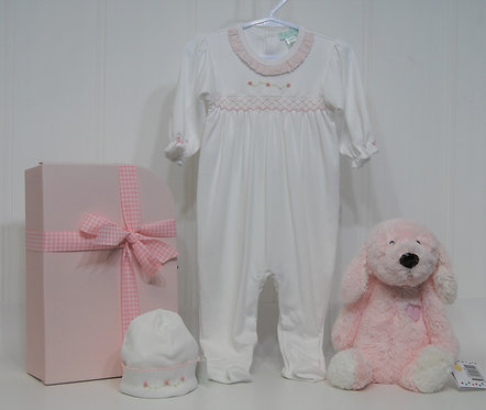 White Smocked footie with Pink puppy