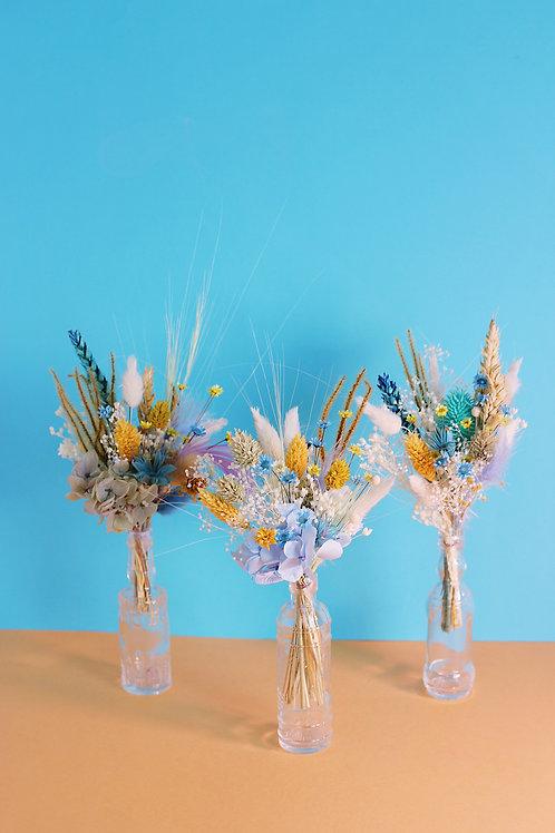 Trio de bouquets Pêche bleue