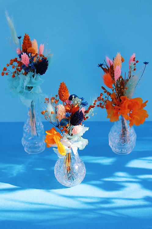 Trio de mini bouquets Papaye bleue