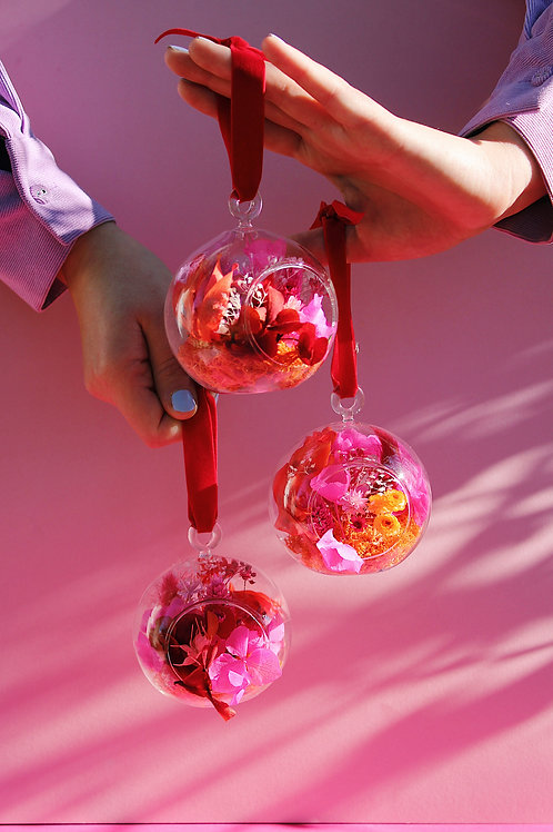 Trio de boules Cerise rouge