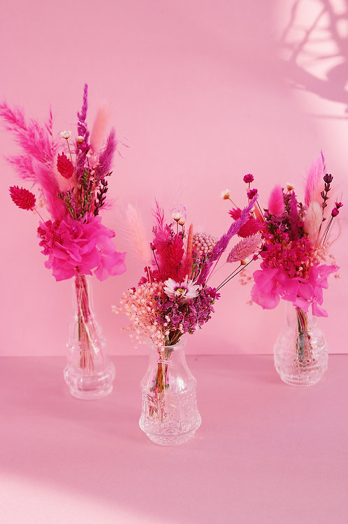 Trio de mini bouquets Framboise rose