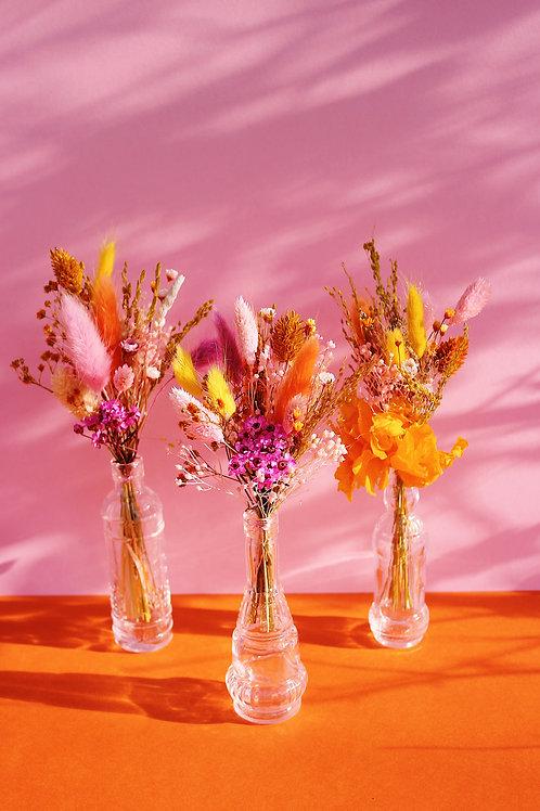 Trio de mini bouquets Abricot rose