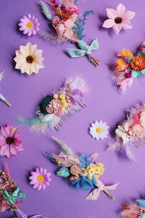 Peigne fleuri personnalisable