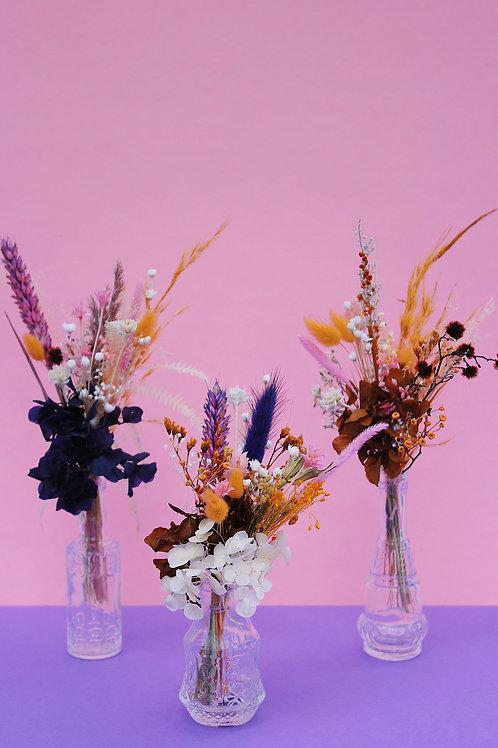 Trio de mini bouquets Cassis ocre