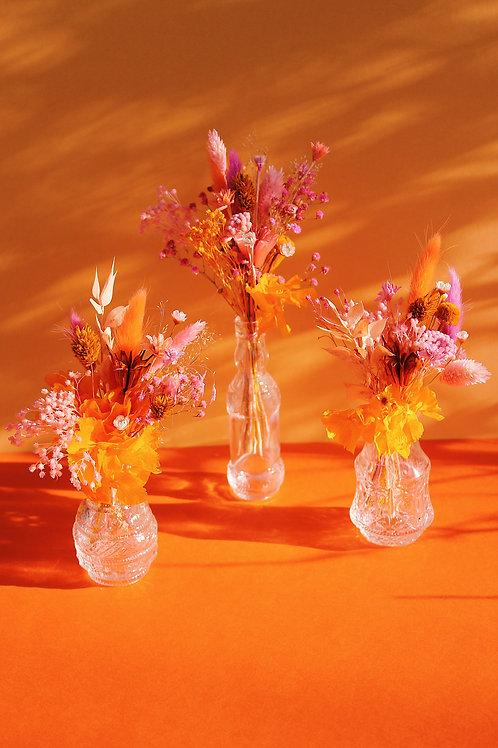 Trio de mini bouquets Clémentine orange