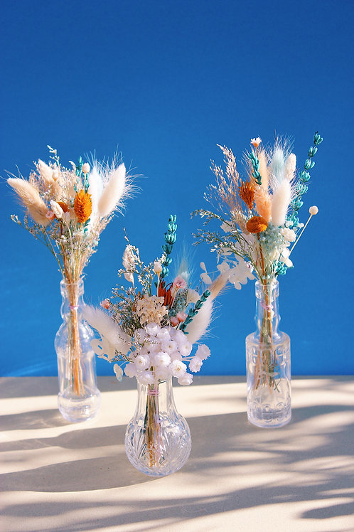 Trio de mini bouquets Orange bleue