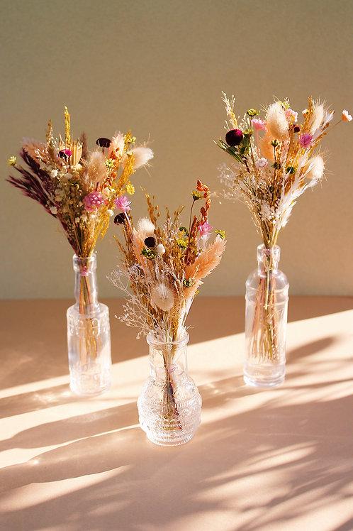 Trio de mini bouquets Cassis nude