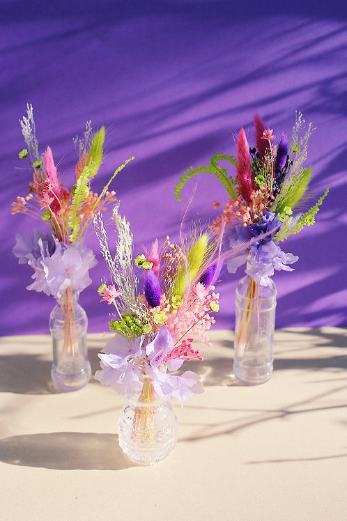 Trio de mini bouquets Citron violet