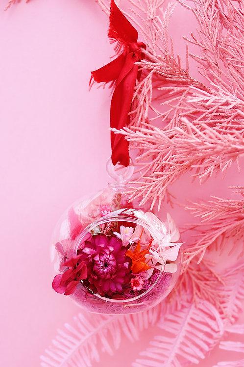 Boule fleurie Grenadine rose