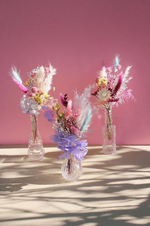 Trio de mini bouquets Framboise bleue