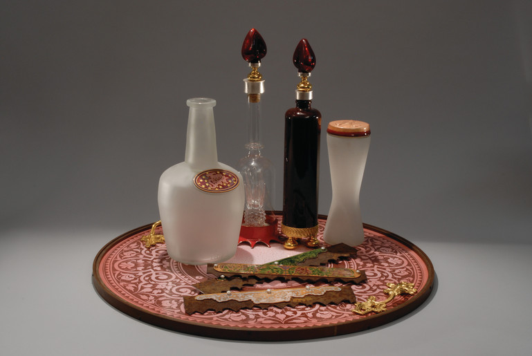 Vanity tray with perfume bottles