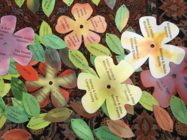 An assortment of enameled flowers and leaves with donor names
