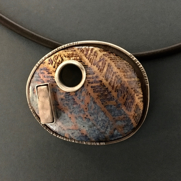 Unmoored (Blue) Neckpiece, 2017 Sterling silver, enamel, drusy, etched copper 2 3/8 x 2 5/8 x 3/4 in. Struck signature on the reverse: jh (artist's monogram) .925