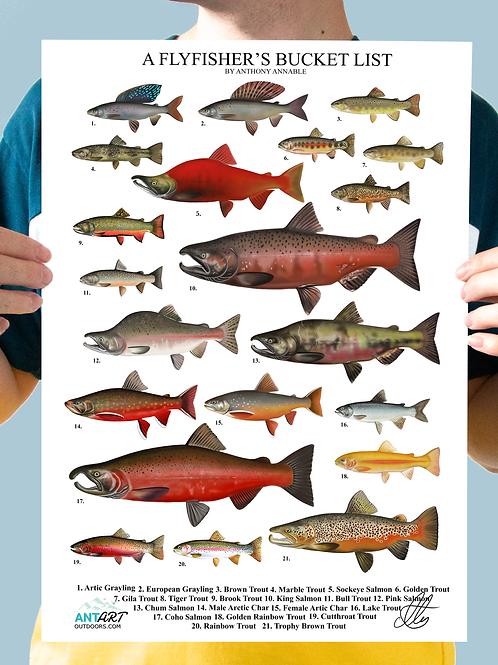 A Flyfisher's Bucket List - Chart Print