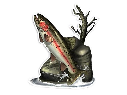 Jumping Rainbow Illustration  - Waterproof Sticker